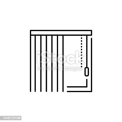 Vector illustration of vertical blind. Line icon of window shade & jalousie. Isolated object on white background.