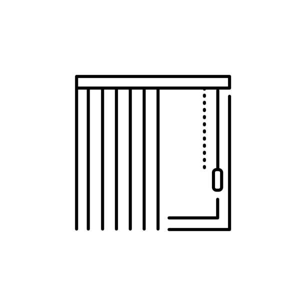 vektor-illustration der vertikaljalousie. liniensymbol der fensterfarbton & jalousie. isoliert auf weißem hintergrund. - stoffrollos stock-grafiken, -clipart, -cartoons und -symbole
