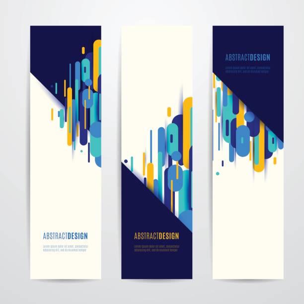 Ilustración de vector de geometría vertical redondo, diagonal y línea de conjunto de banner - ilustración de arte vectorial