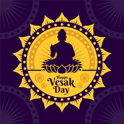 Vector illustration of Vesak Day banner with the silhouette of Buddha statue and decorative background design. Vector design with decorative Buddhist nuances. Vesak Day vector illustration