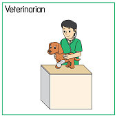 istock Vector illustration of veterinarian isolated on white background. Jobs and occupations concept. Cartoon characters. Education and school kids coloring page, printable, activity, worksheet, flashcard. 1319471168