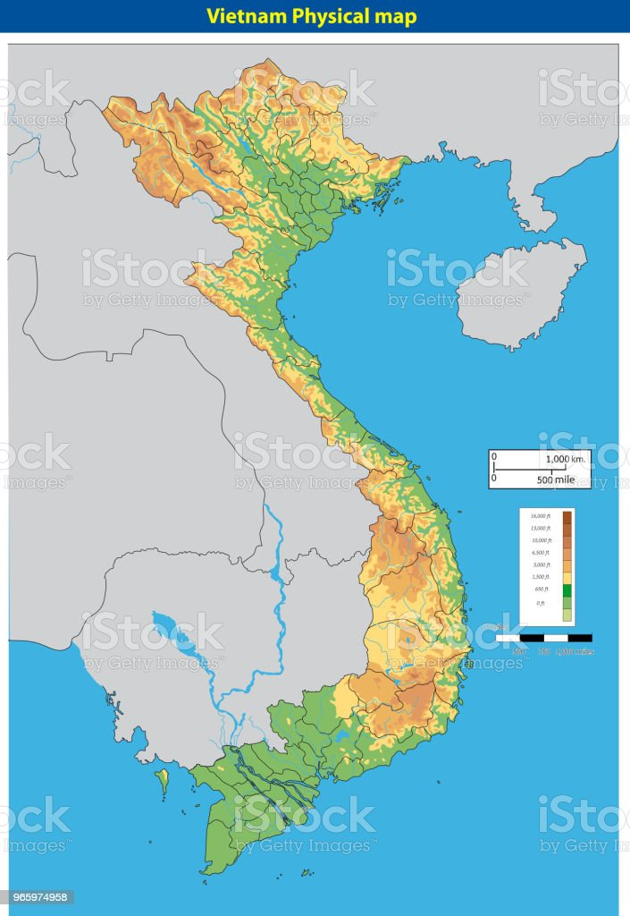 Vectorillustratie van VietnamPhysicalMap - Royalty-free Azië vectorkunst