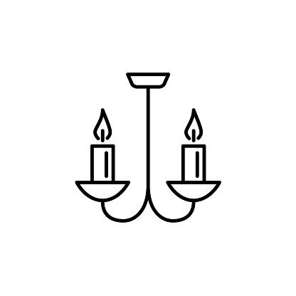 Vektorillustration Av Taklampa Ikon För 2 Lampor Ljuskrona