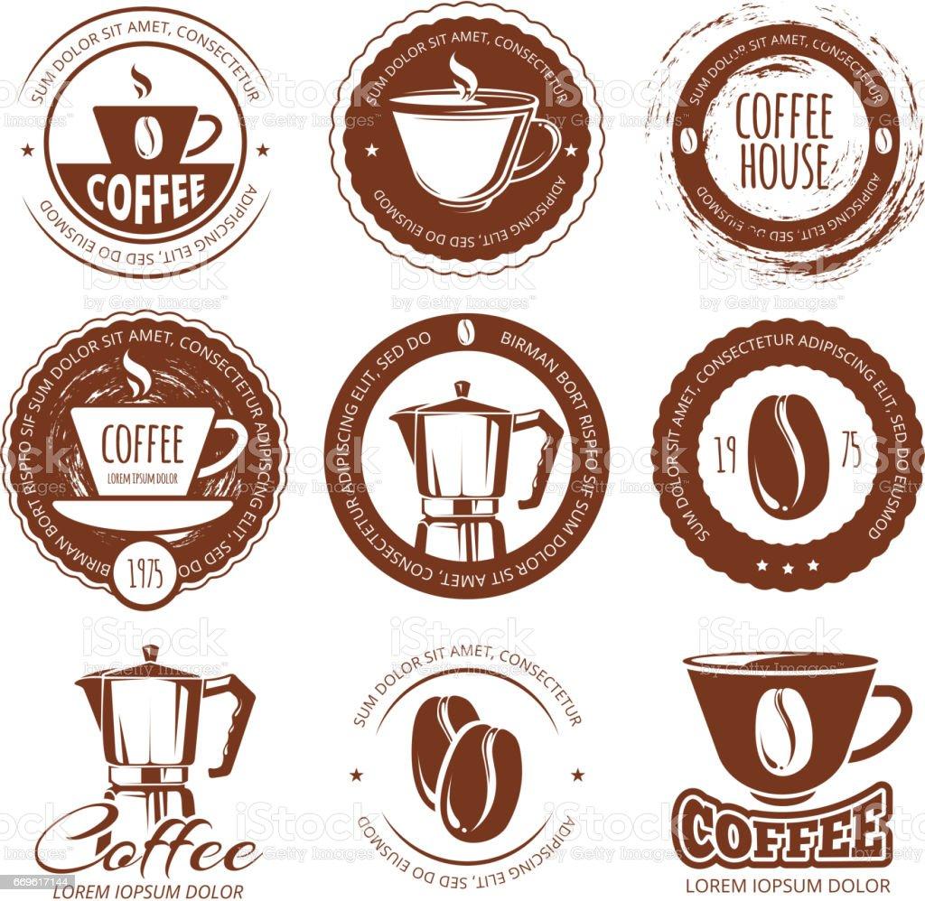 ビンテージ コーヒー ラベルとバッジのベクトル イラストアイコン カフェ