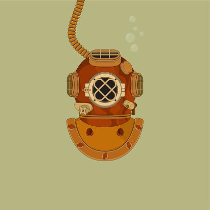 Vector illustration of vintage diving helmet