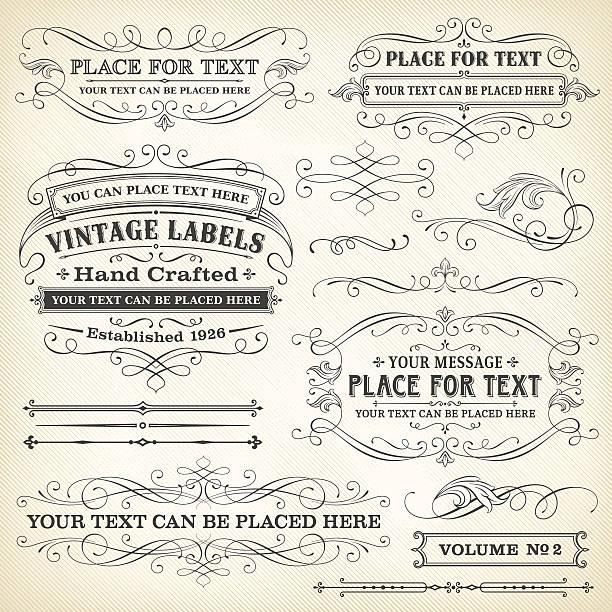 Vector illustration of vintage frames, labels vector art illustration