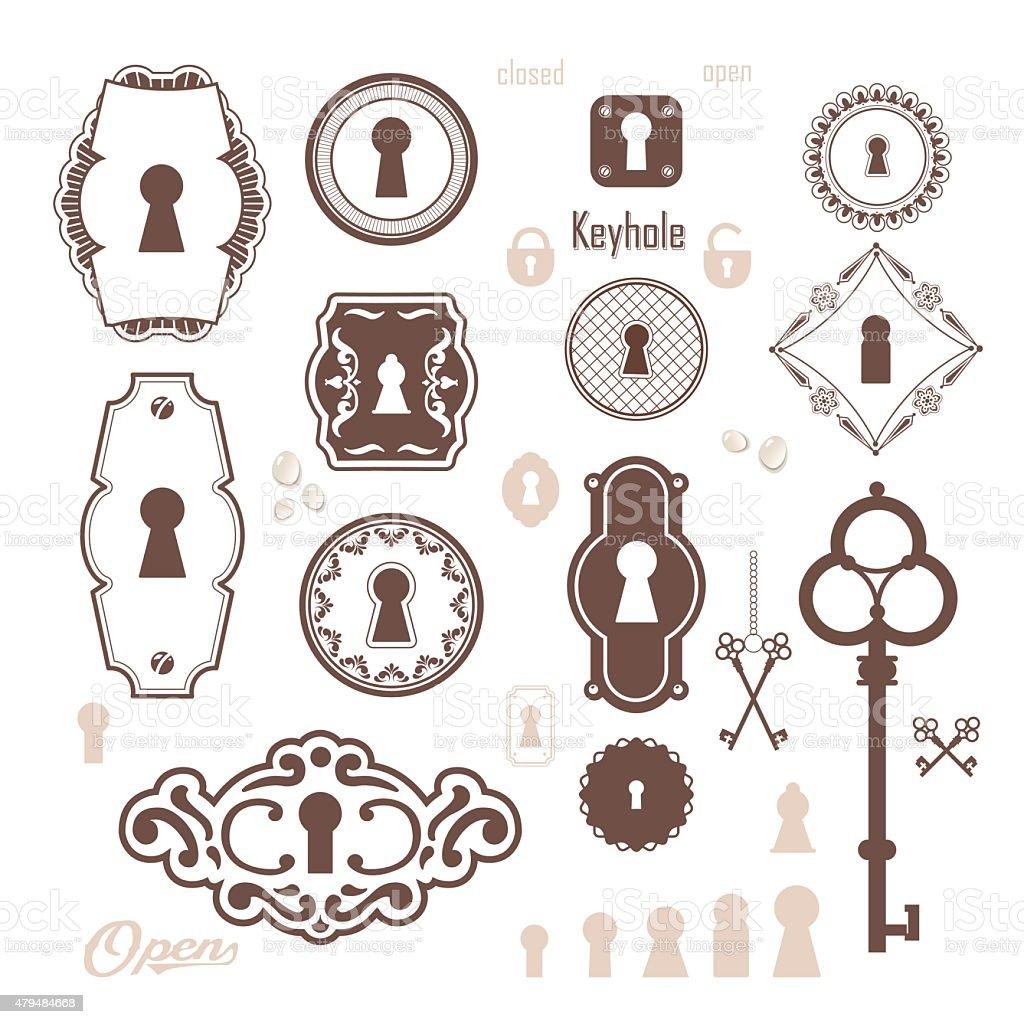 Vector Key Illustration: Vector Illustration Of Vintage Keyholes Keys Stock Vector