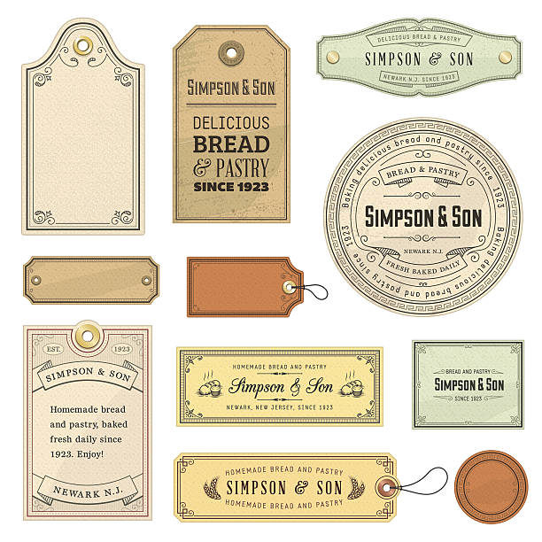 vector illustration of vintage labels - antika stock illustrations