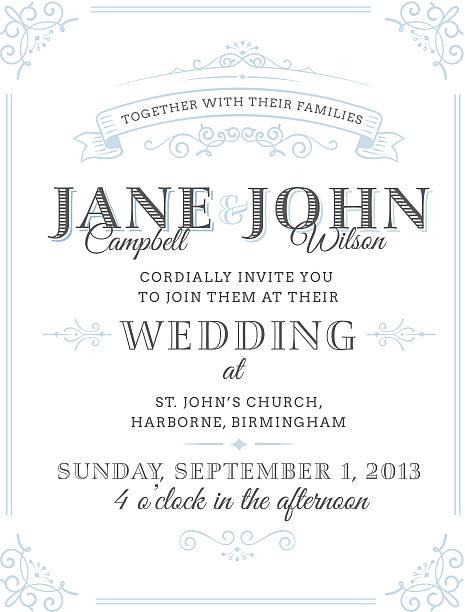 vector illustration of vintage wedding invitation - wedding invitation stock illustrations, clip art, cartoons, & icons