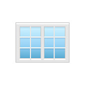 Vector illustration of vinyl casement or sash french window. Flat icon of traditional aluminum window with horizontal & vertical bars. Isolated on white background.