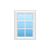 Vector illustration of vinyl french casement window. Flat icon of vintage window with decorative muntins. Isolated on white background.