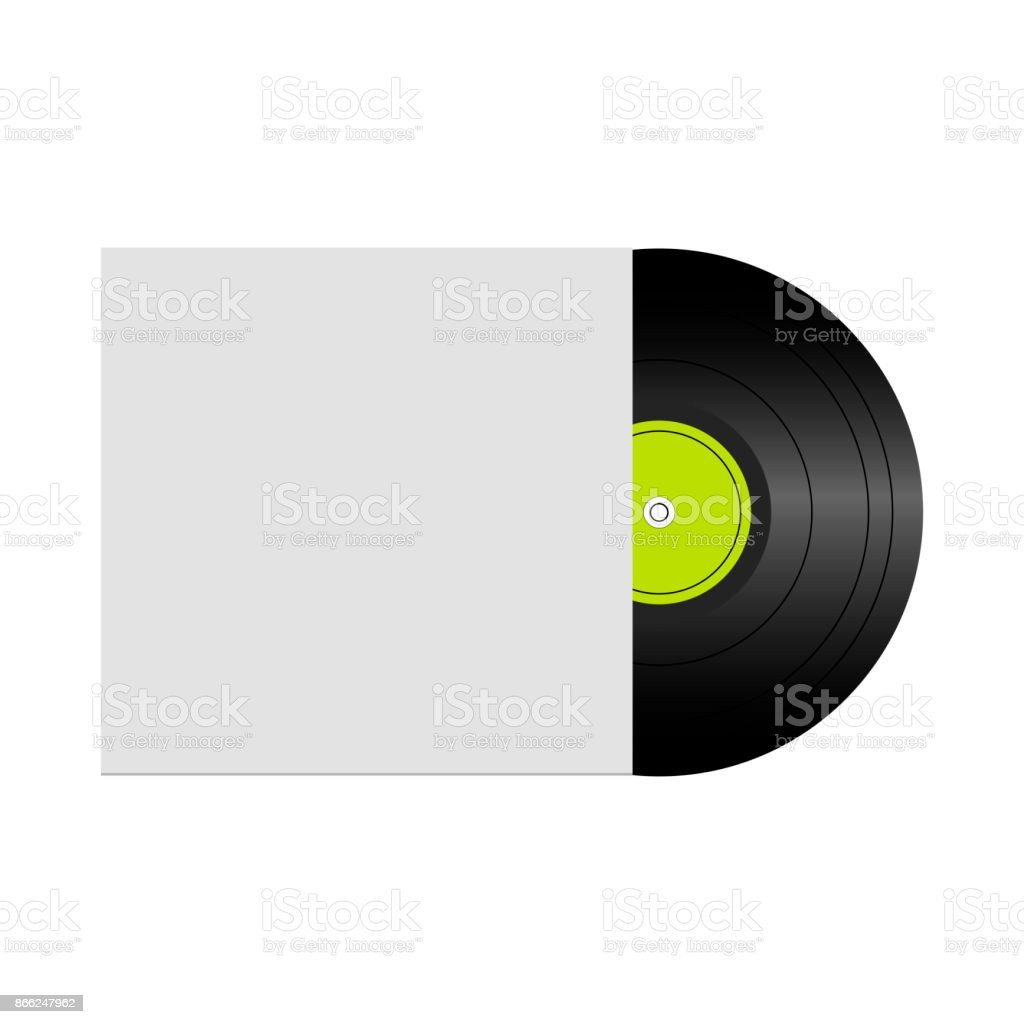 Vector illustration of vinyl record in envelope with space for your text vector art illustration
