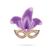 Vector illustration of violet Venetian carnival mask with colorful feathers