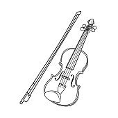 istock Vector illustration of violin isolated on white background for kids coloring activity worksheet/workbook. 1222936849
