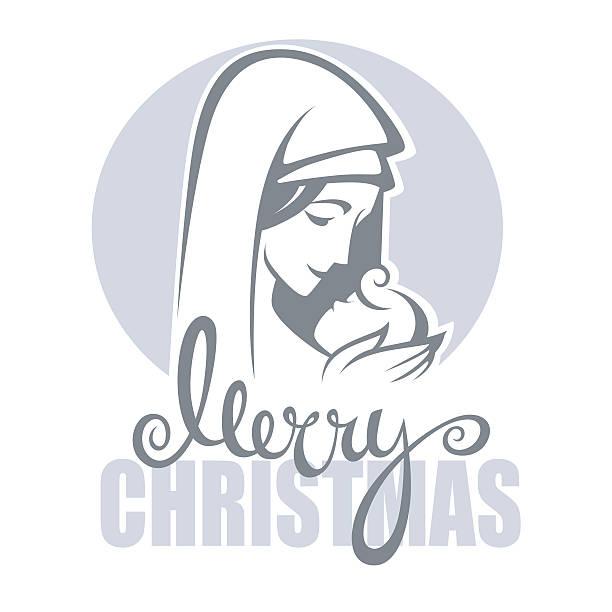 vector illustration of  virgin mary and her jesus christ baby - jungfrau stock-grafiken, -clipart, -cartoons und -symbole