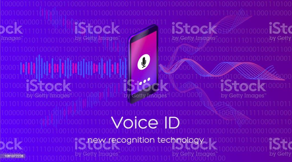 Vector illustration of voice id new recognition technology векторная иллюстрация