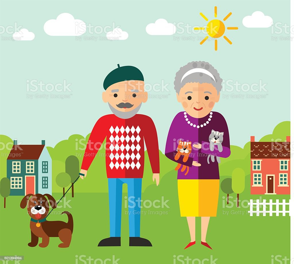 Vector Illustration of  walking adult people  and landscape vector art illustration