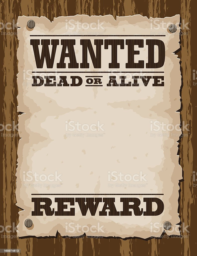 Vector Illustration Of Wanted Poster Template Vector Art Illustration  Most Wanted Sign Template