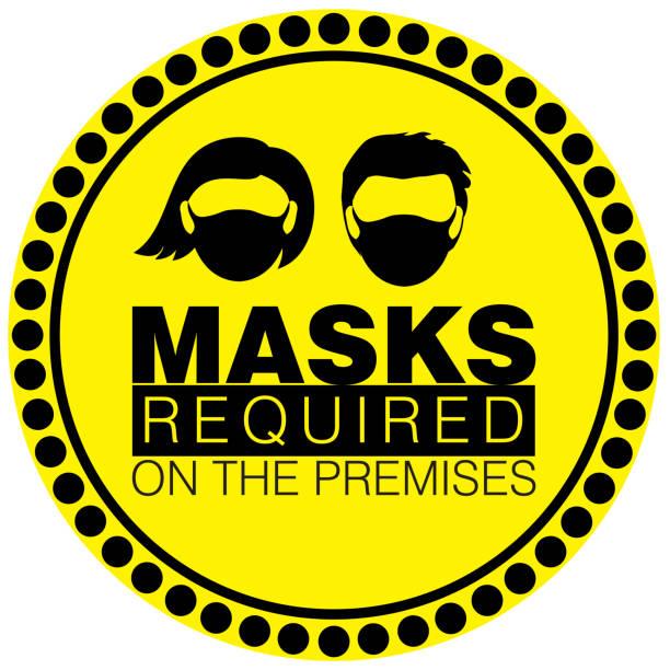 ilustrações de stock, clip art, desenhos animados e ícones de vector illustration of warning or caution sign to wear a mask - tape face