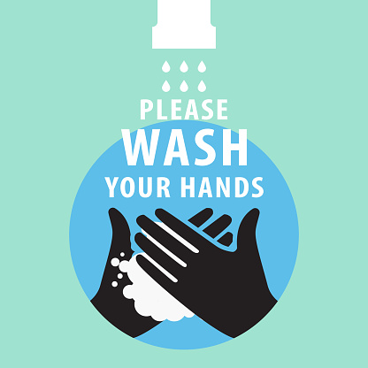 Vector Illustration Of Washing Hands. invitation to wash your hands to prevent the spread of the virus poster. icon.