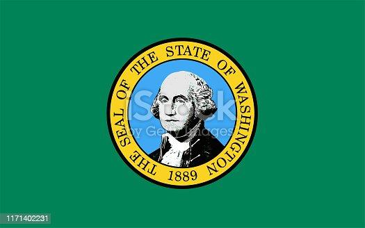 istock Vector Illustration of Washington state flag 1171402231