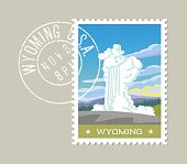 Wyoming postage stamp design. Vector illustration of water and steam erupting from geyser. Grunge postmark on separate layer