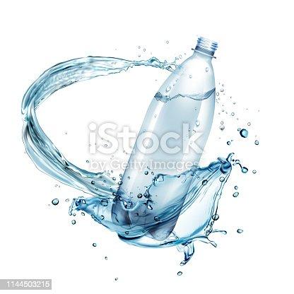istock Vector illustration of water splashes around plastic bottle isolated on background 1144503215