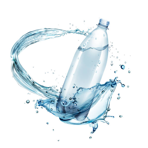 ilustrações de stock, clip art, desenhos animados e ícones de vector illustration of water splashes around plastic bottle isolated on background - water splash