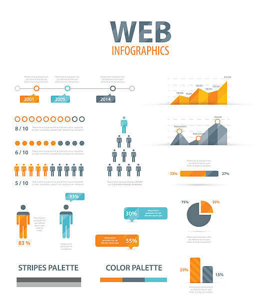 vector illustration of web infographics - demographics infographics stock illustrations, clip art, cartoons, & icons