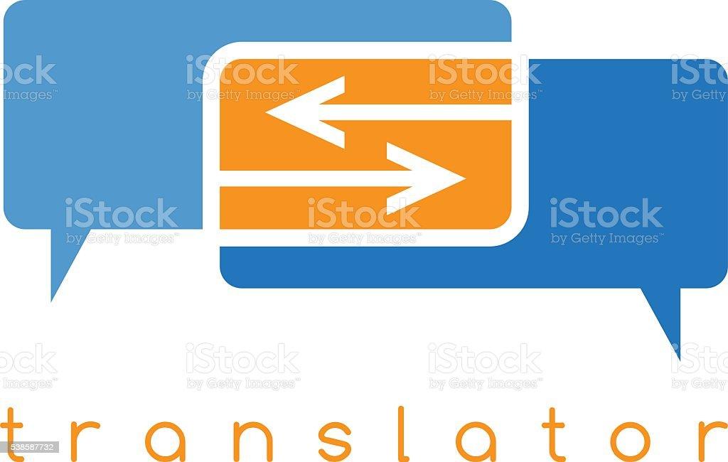 Vektor-illustration von web-Übersetzerin mit Pfeilen – Vektorgrafik