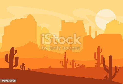 Vector illustration of Western Texas desert silhouette. Wild west america scene with sunset in desert with mountains and cactus in flat cartoon style.