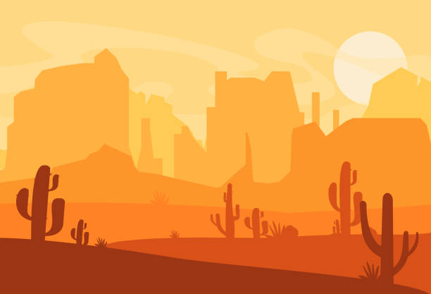 vector illustration of western texas desert silhouette. wild west america scene with sunset in desert with mountains and cactus in flat cartoon style. - desert stock illustrations