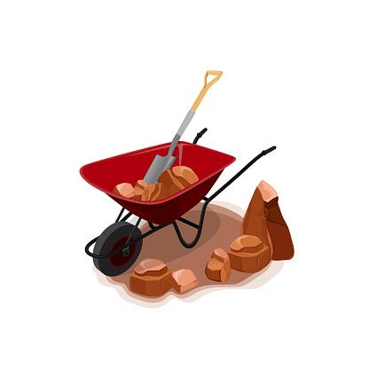Vector illustration of wheelbarrow with a shovel moving rocks.