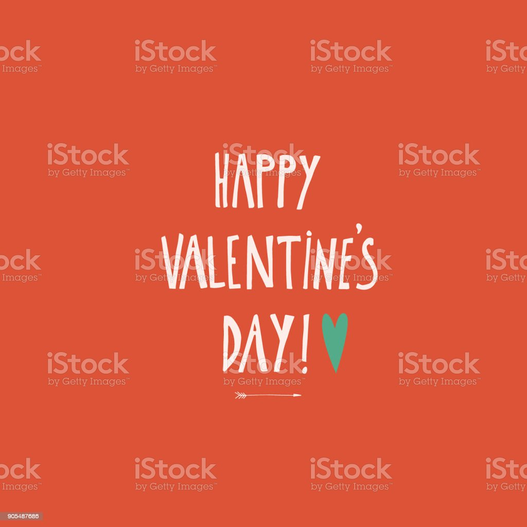 Vector Illustration Of White Colored Happy Valentines Day Words On