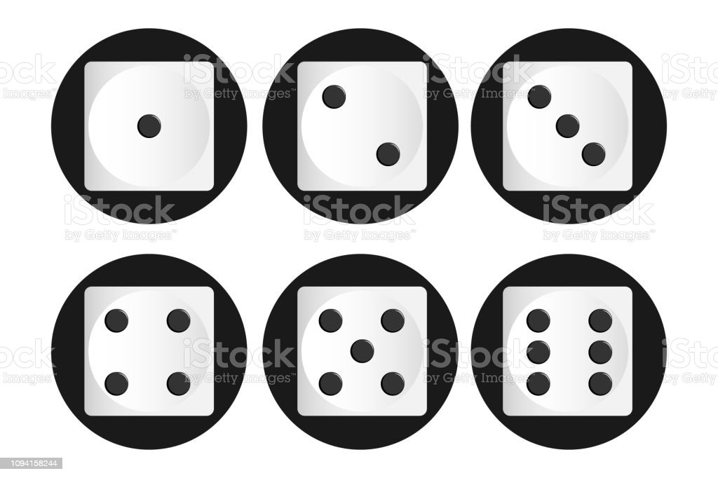 Vector illustration of white realistic game dice icon in flight...