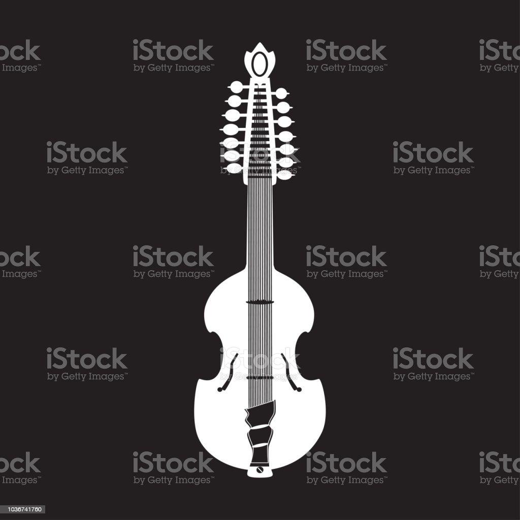 Vector illustration of white viola guitar vector art illustration