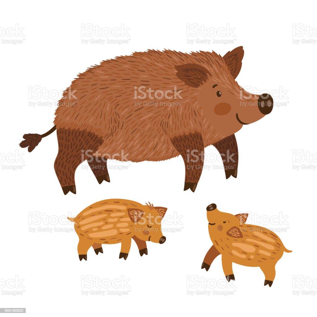 ilustração de ilustração em vetor de javali com babbies animais