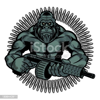 Vector illustration of wild monkey with machine gun in a retro style. Colored angry gorilla holding guns with isolated on white background. Wild animals concept in cartoon style. T-shirt design