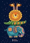 Vector illustration of wild totem animal. Lion, elephant, crocodile, giraffe