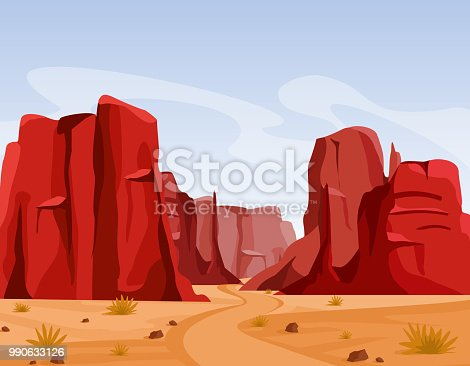 Vector illustration of Wild west Texas desert landscape with dry grass and red color mountains of canyon. Flat cartoon style for game art and animation game
