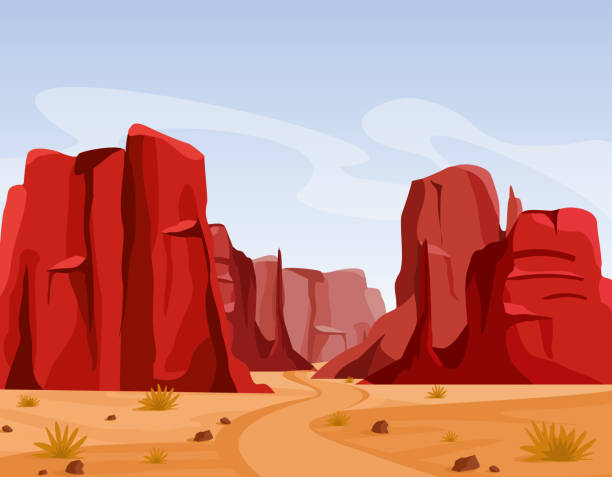 Vector illustration of Wild west Texas desert landscape with dry grass and red color mountains of canyon. Flat cartoon style for game art and animation game. Vector illustration of Wild west Texas desert landscape with dry grass and red color mountains of canyon. Flat cartoon style for game art and animation game cliffs stock illustrations