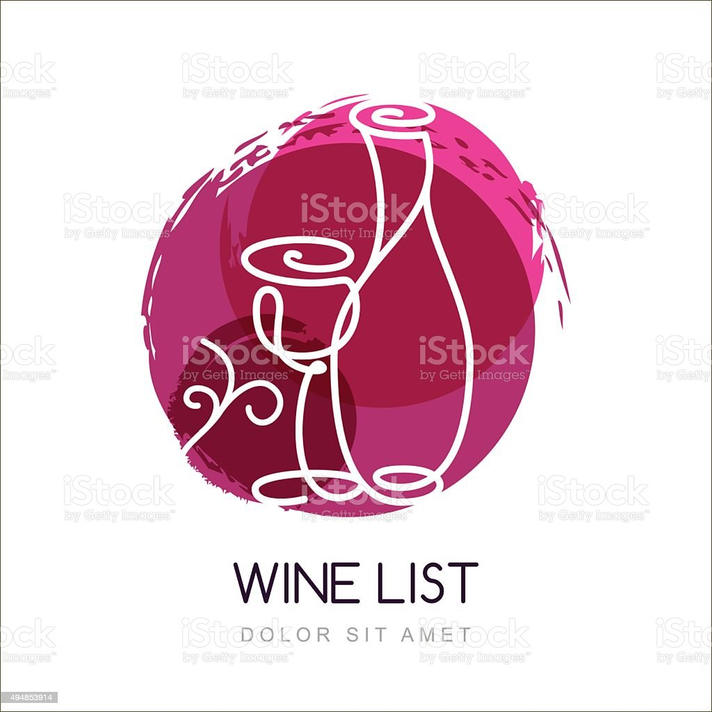 Vector illustration of wine bottle and glass in watercolor splash. vector art illustration