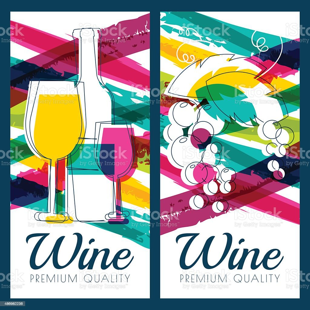 Vector illustration of wine bottle, glass, grape and watercolor background. vector art illustration