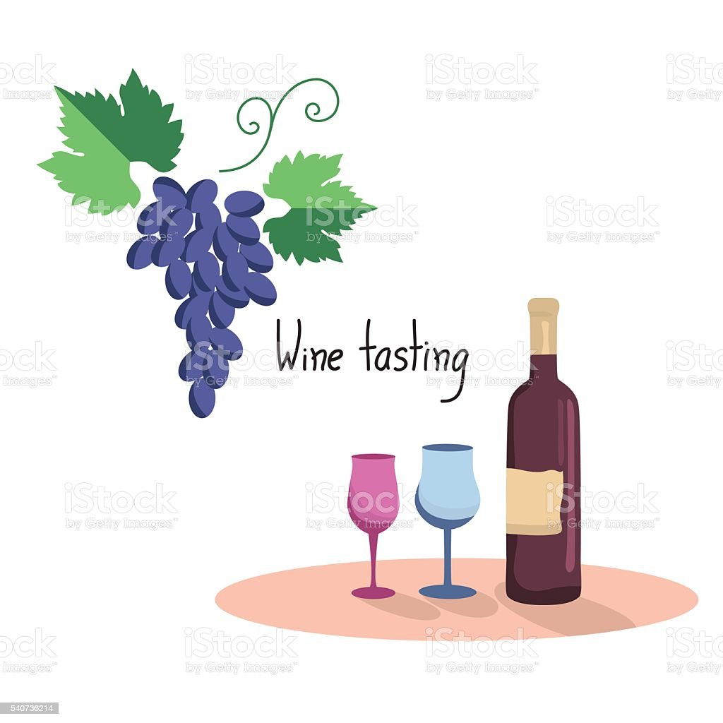Vector illustration  of wine bottle,two wine glasses and grapes vector art illustration