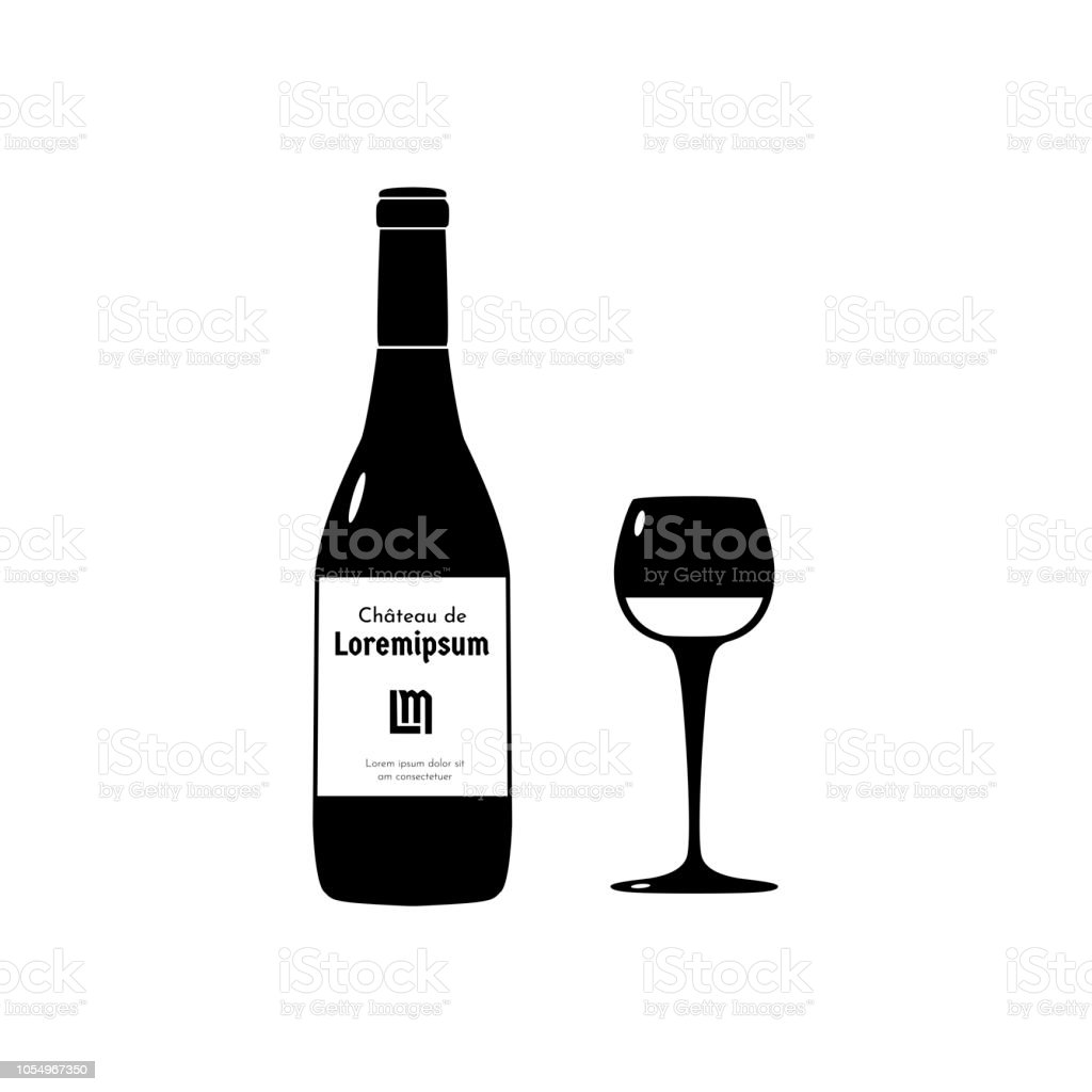 Vector illustration of wineglass, bottle and sticker with text 'Château de Loremipsum' vector art illustration