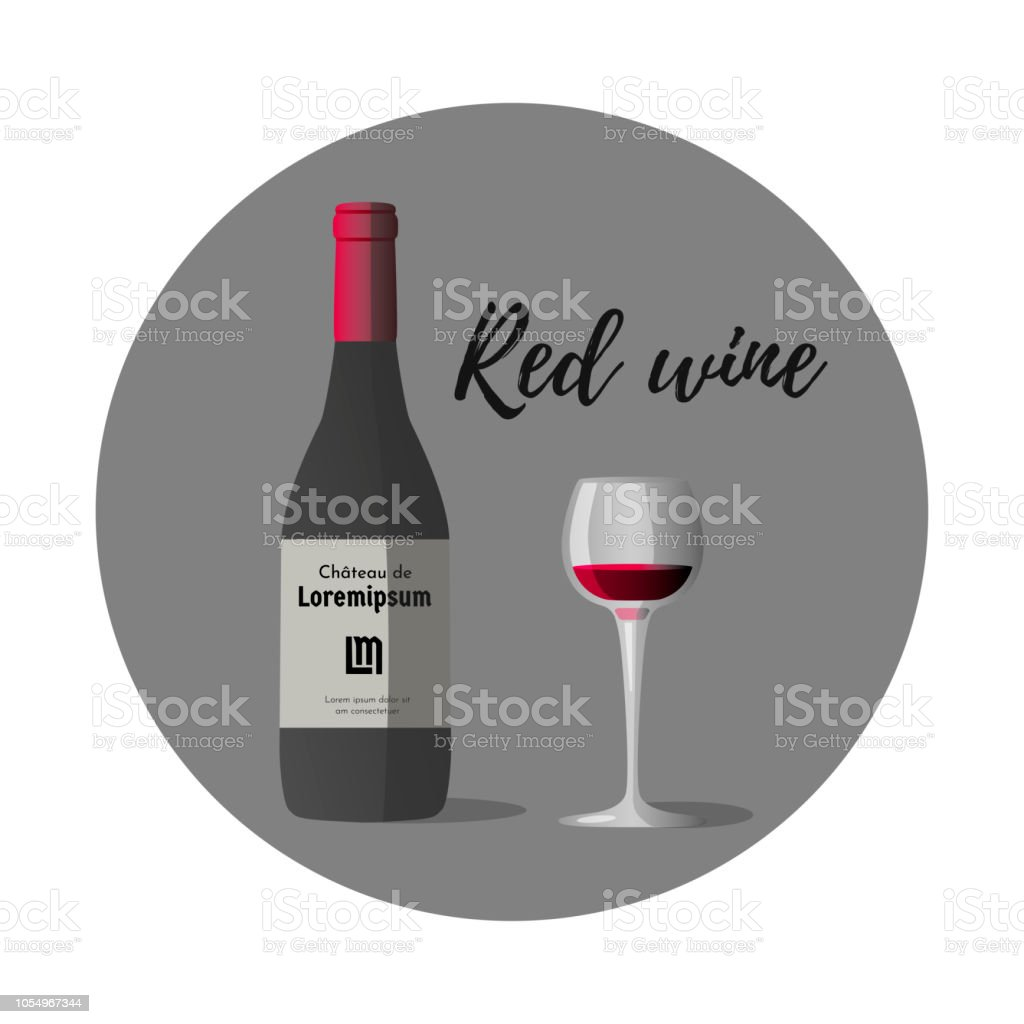 Vector illustration of wineglass with red wine and dark grey wine bottle, red cap and sticker vector art illustration