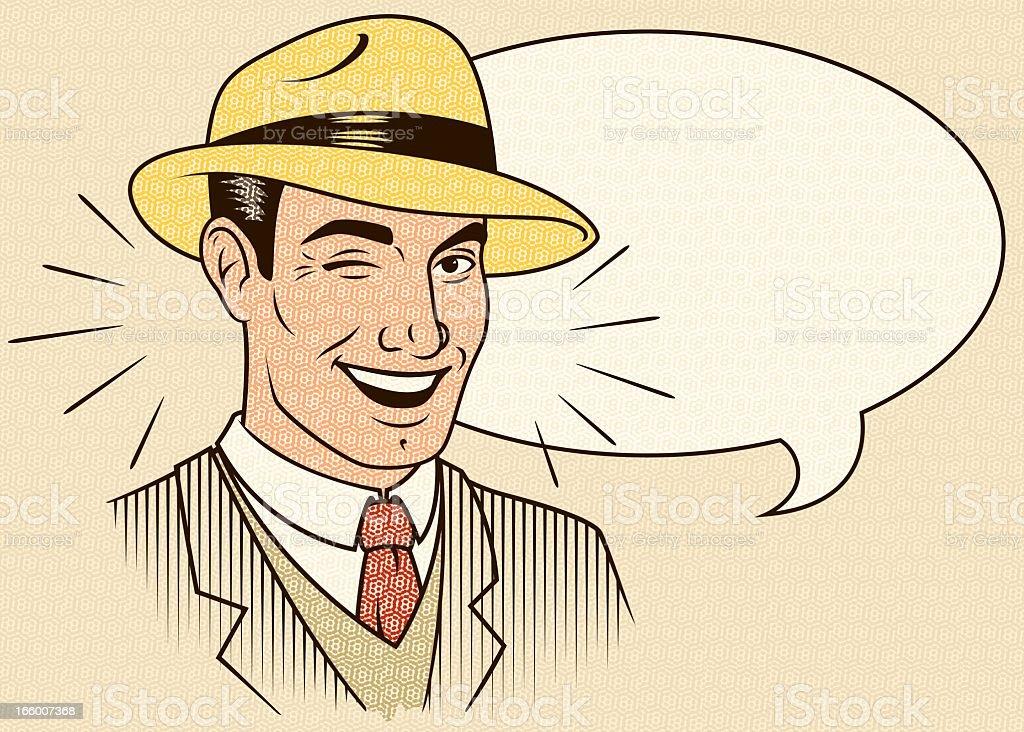 Vektor-illustration von Zwinkern Mann Lizenzfreies vektorillustration von zwinkern mann stock vektor art und mehr bilder von altertümlich