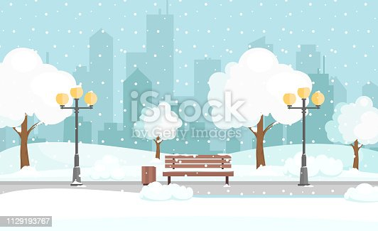 istock Vector illustration of winter city park with snow and big modern city background. Bench in winter city park, winter holidays concept in flat cartoon style. 1129193767