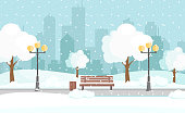 Vector illustration of winter city park with snow and big modern city background. Bench in winter city park, winter holidays concept in flat cartoon style