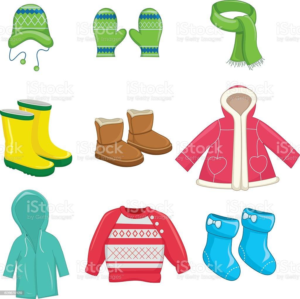 Vector Illustration Of Winter Clothes vector art illustration